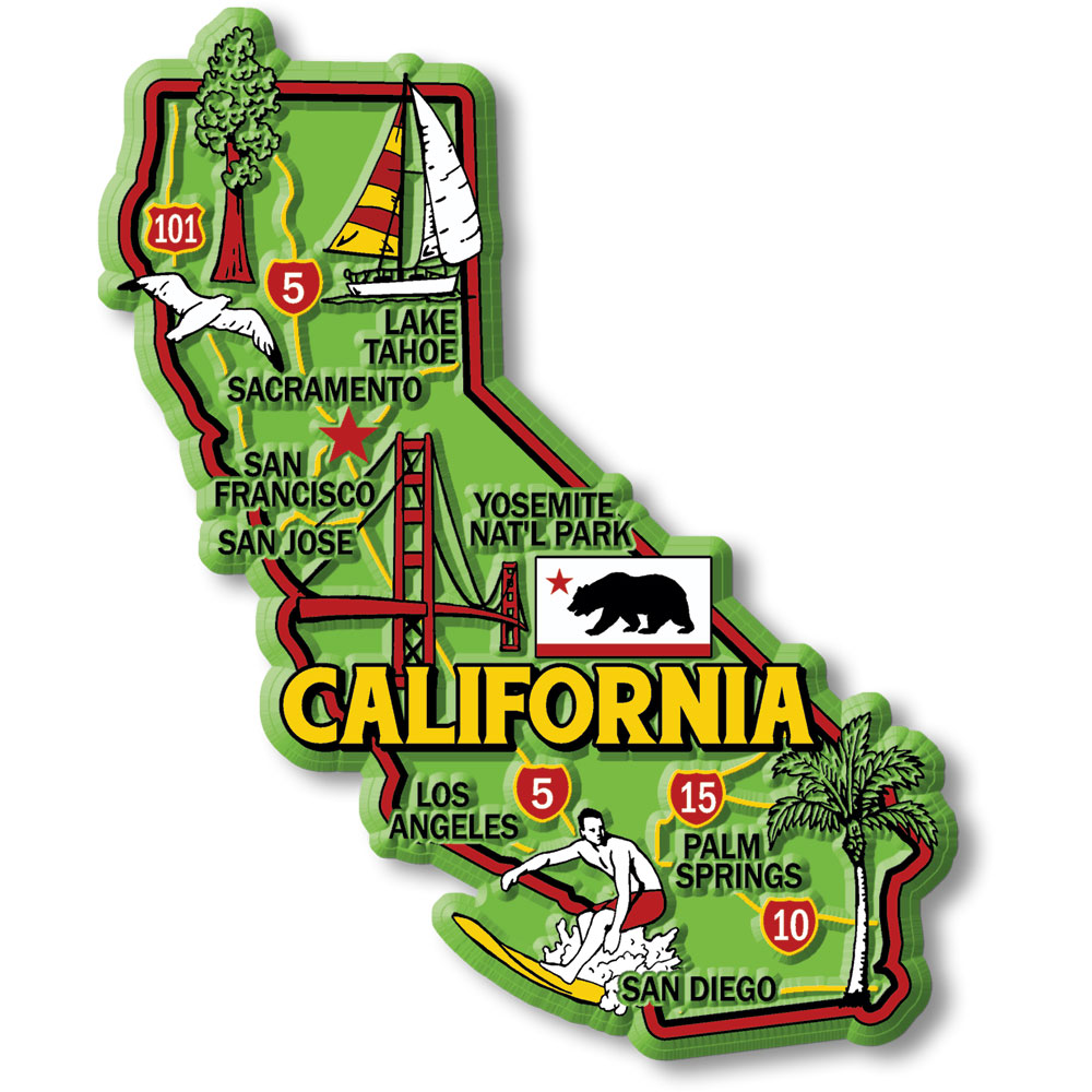 California Colorful State Map Magnet | Ideaman Custom ... on map of route 1 ca, map of highway 1 ca, map of us 101 ca, map of hwy 1 ca, map of interstate 5 ca, map of highway 101 ca, map of interstate 80 ca, map of hwy 50 ca, map of hwy 99 ca, map of i-10 ca,