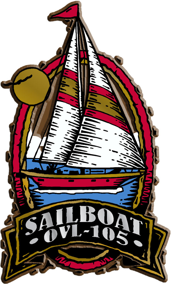 Sailboat Oval Name-Drop Magnet