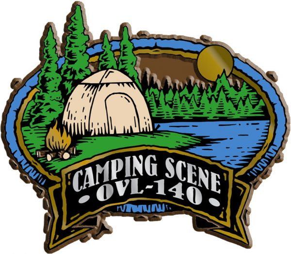 Camping Scene Oval Name-Drop Magnet