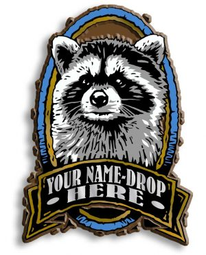 Raccoon Oval Name-Drop Magnet