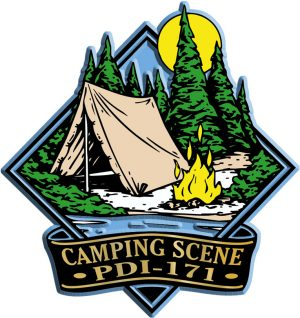 Camping Scene Diamond Name-Drop Magnet